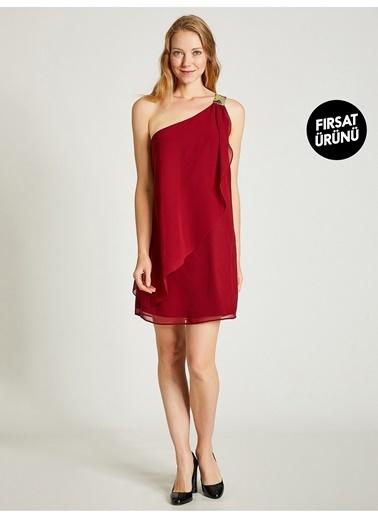 Vekem-Limited Edition Tek Omuz Payet Detaylı Şifon Elbise Bordo